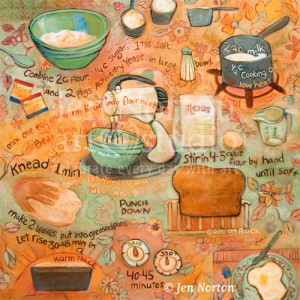 Bread Recipe painting by Jen Norton