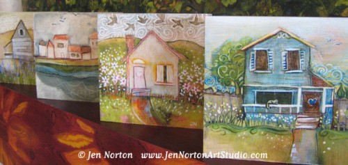 Painted Houses on wood