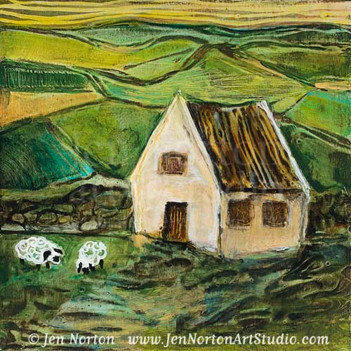 Irish Cottage painting by Jen Norton