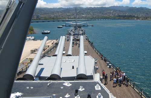Pacific War memorial viewed from the deck of the USS Missouri