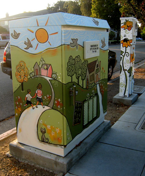 Jen Norton's painted electrical box, south and sidewalk side