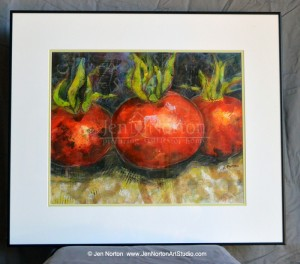 "A painting of tomatoes called ""Ready for Salsa"" by Jen Norton"