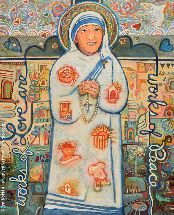 Acrylic painting of St. Teresa of Kolkata by Jen Norton.