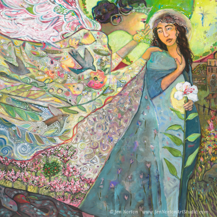 """""""Annunciation"""" by Jen Norton. Acrylic on canvas, 48x48"""""""