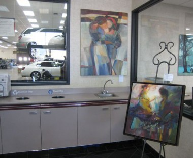 Jen Norton artwork on display at Lexus Service, Santa Clara, CA.