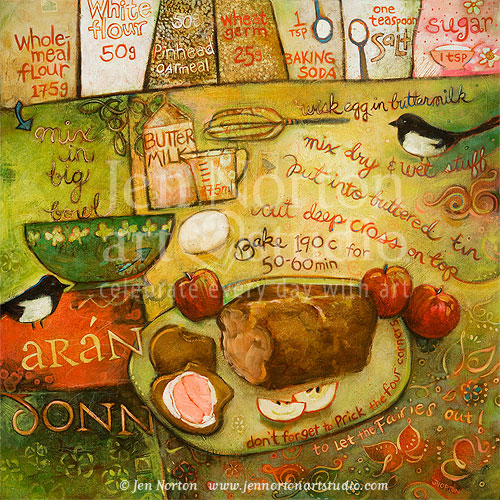 Irish Brown Bread Painting by Jen Norton