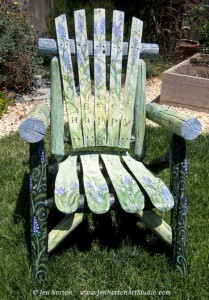 Lavendar and Bee Painted Chair by Jen Norton