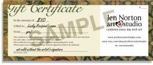 Sample Gift Certificate from Jen Norton Art Studio