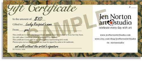 Gift Certificates Jen Norton Art Studio