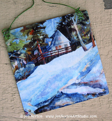 Cabin in the Woods painting © Jen Norton