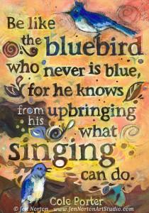 Painted Bluebird Cole Porter Quote © Jen Norton
