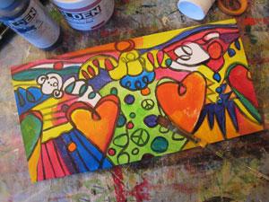 beginning of angel painting
