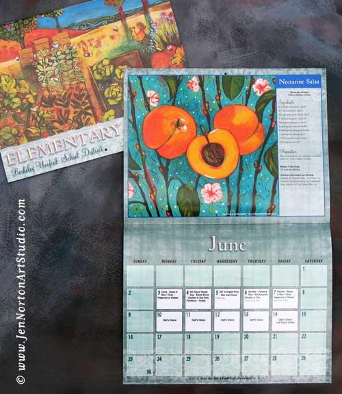 Calendar Artwork Design : Painted food and organic garden art calendar design by jen