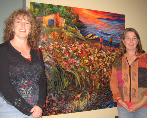Jen and art patron with new painting