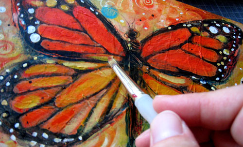 Detail of Monarch Butterfly painting © Jen Norton