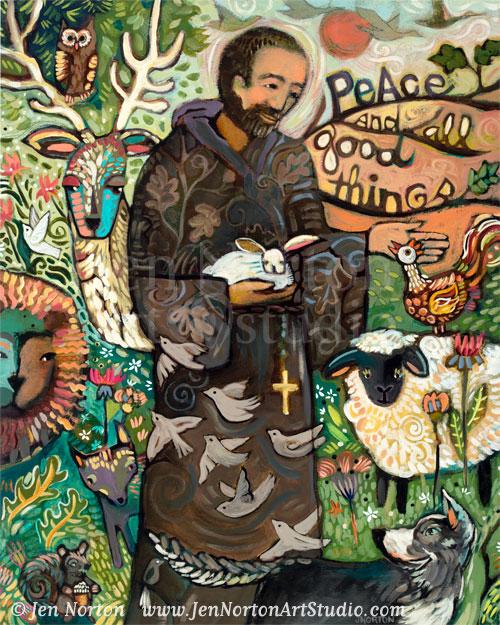 Saint Francis painting by Jen Norton