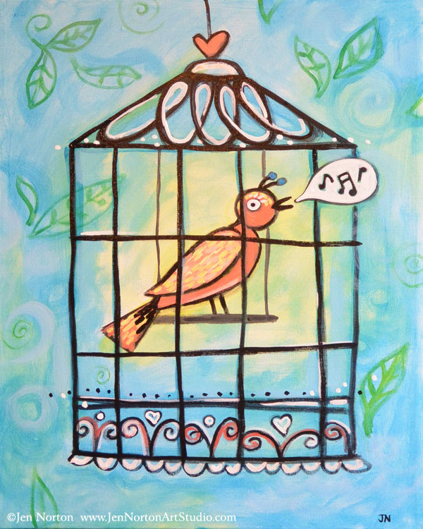 Whimsical Singing Bird: Paint with me at a VinoPaint event!