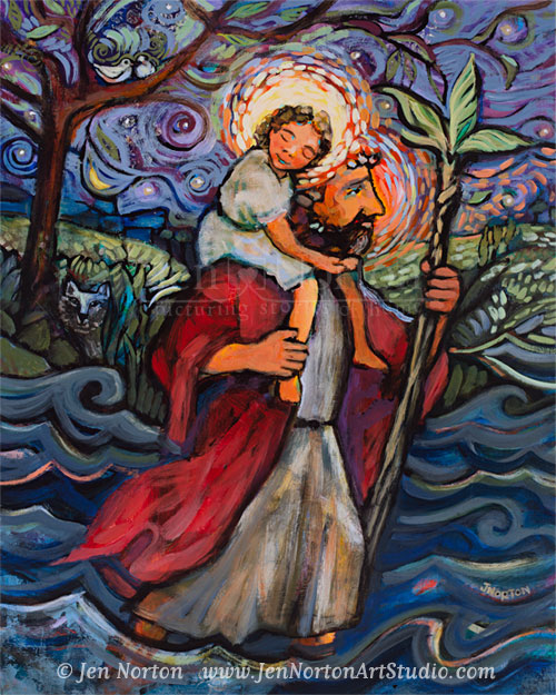 A painting of St. Christopher carrying the Christ child across a river, keeping him safe from danger.