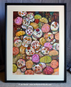 Painting of Sugar Skulls and Pan Dulce by Jen Norton