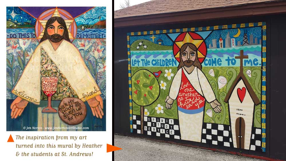 Mural art by Heather Gentile Collins at St. Andrews, inspired by artwork by Jen Norton