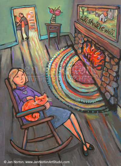 "An illustration for a fiction piece about a modern woman finding comfort in St. Julian of Norwich. She is sitting in a rocking chair by the fire with her orange cat, contemplating the words ""All Shall be Well"" attributed to the saint. Acrylic on paper."