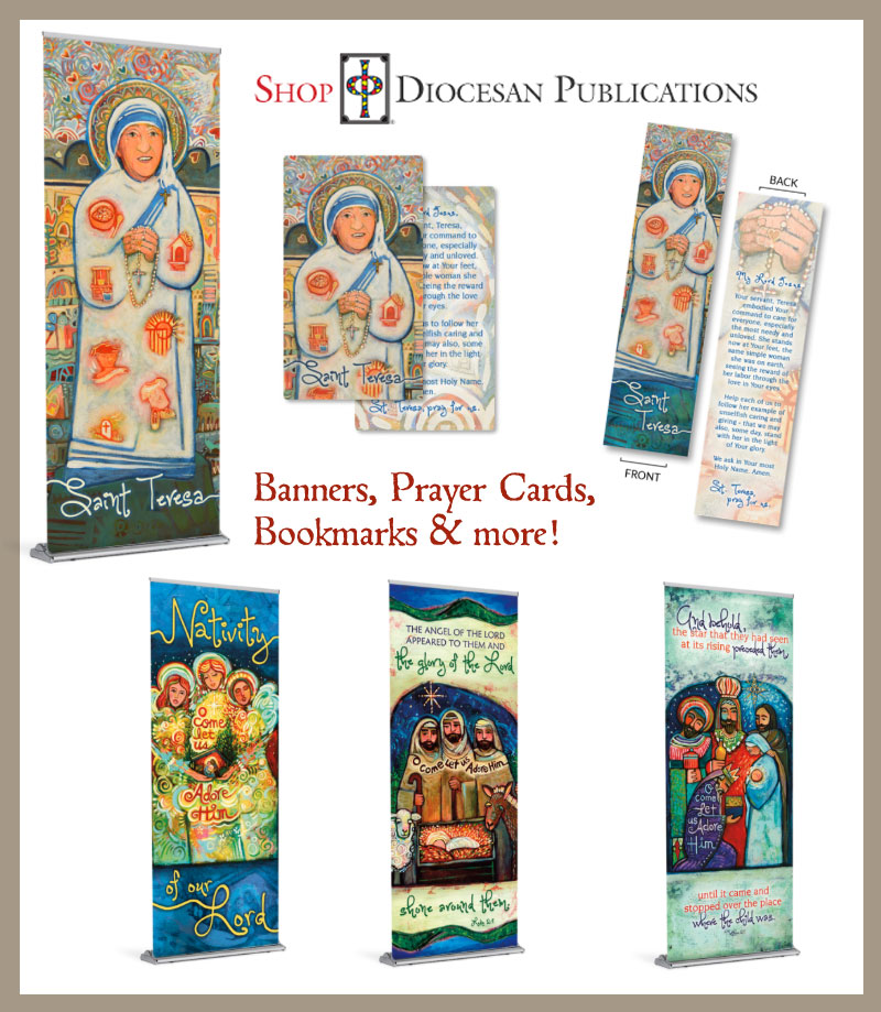 A collection of liturgical banners and prayer cards by Diocesan Publications and Jen Norton